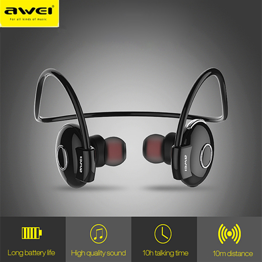 Awei A845BL Wireless Sport Headphone Headset Bluetooth Noise Reduction Neckband Earphones Mini Auriculares 10 Hours Working Time kz zsn pro quad core moving double circle headphones