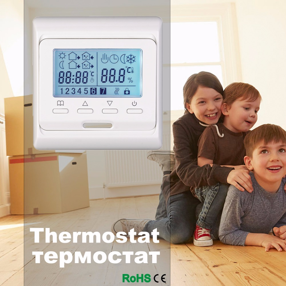 Free shipping 230V 16A Weekly Programmable LCD room thermostat for floor heating white SWITCH