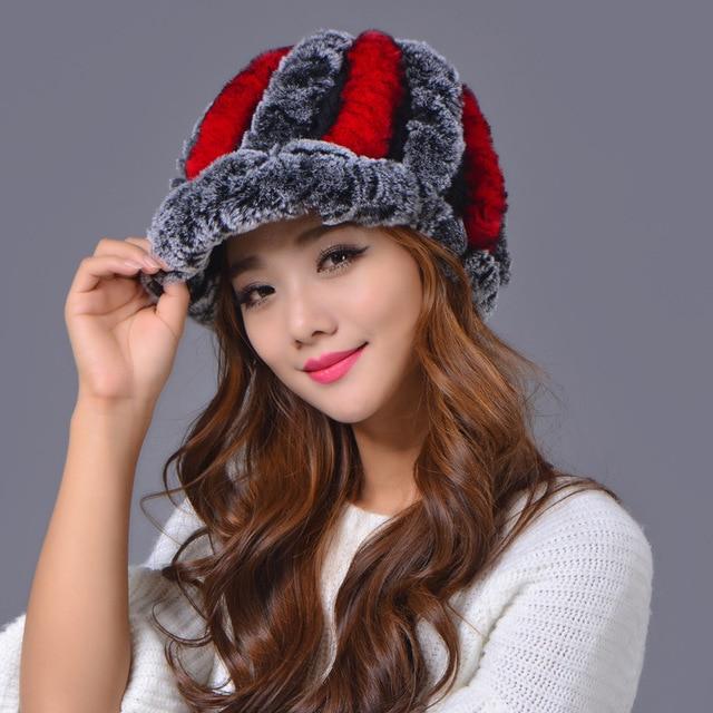 Genuine Knitted Rex Rabbit Fur Hat Natural Rabbit Fur Caps Fashion Women Winter Warm Thick Wool Hat Free Shipping