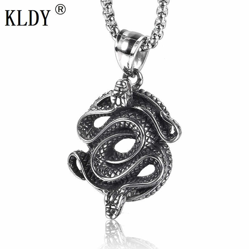 KLDY Snake Pendant Necklace for men stainless steel amulet necklace punk Snakes suspension Pendant maxi men jewelry wholesale