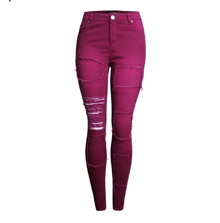Bottoms Shock-Resistant And Antimagnetic Catonatoz 2107 New Arrived Distressed Jeans With Patches Women`s Stretchy Ripped Pencil Skinny Denim Pants Jeans For Woman Waterproof