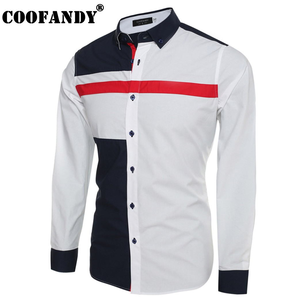 Coofandy Mens Contrast Color Button Down Dress Shirts Casual Shirts