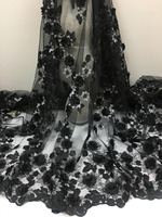 New African Lace Fabric Nigerian Applique Flowers black Lace Fabric High Quality French Tulle Lace Fabric For dress.5yards