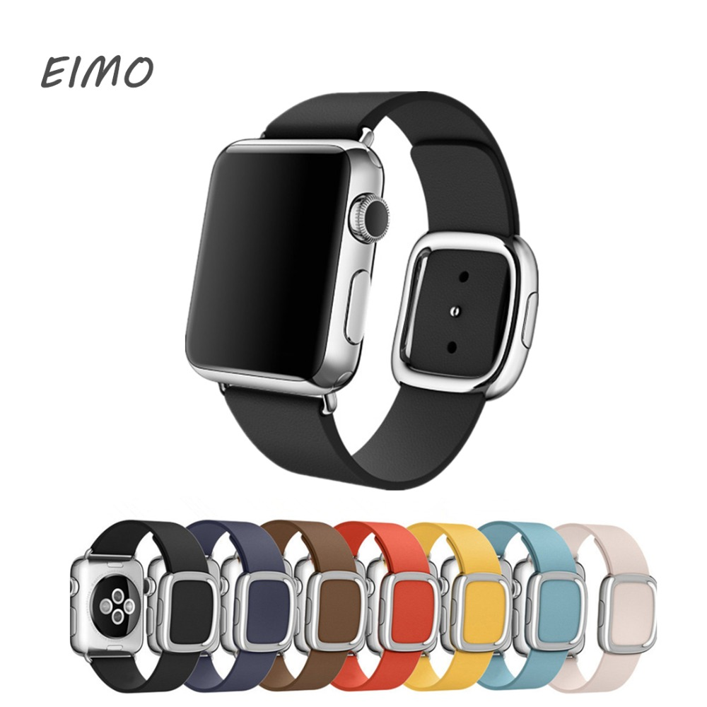 EIMO Genuine modern buckle for Apple watch band strap 42mm/38mm Leather bracelet wrist belt watchband for iwatch series 3 2 1 цена и фото
