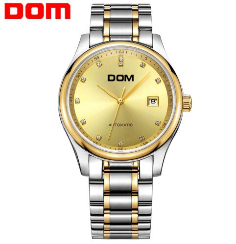 DOM brand mechanical watch for Men top luxury waterproof calendar watches stainless steel strap crystal clock reloj hombre M-95 dom men watch top luxury men quartz analog clock leather steel strap watches hours complete calendar relogios masculino m 11