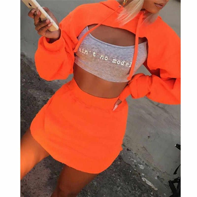 Мода леди 2 шт Bodycon Мини юбка с капюшоном кроп топы костюм Повседневная Клубная одежда вечерние летние стильные сексуальные уникальные хип поп женские наборы