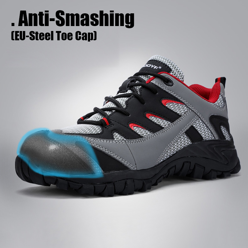 Men's Safety Shoes Leather With Steel Toe Cap Work Boots Outdoor Light Weight Working Shoes