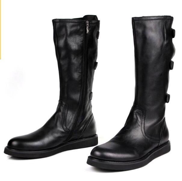Chaude Latérale Mode Noir Ceintures Chaussures Piste Black Martin Bottes En Boucles Marée Hommes Longues Cuir Vache Glissière Moto Mâle g76fvIbYy