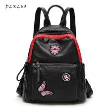 Dlkluo 2017 новое поступление натуральная кожа женщины рюкзак с уникальной вышивкой Дизайн Практические и большой Ёмкость дорожные сумки