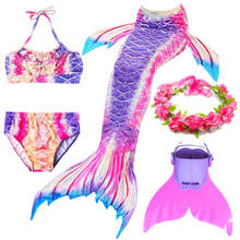 Swimmable Girls Mermaid Tails With Monofin Fins Bikini Set Cosplay Children Kids Swimsuit Mermaid Tail Costume for Girl Swimming