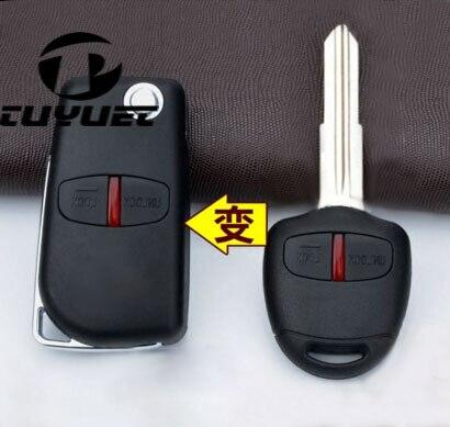 2 botones en blanco modificado Flip plegable funda de llave remota para Mitsubishi nuevo ASX GRANDIS Outlander LANCER-EX cuchilla de llave derecha
