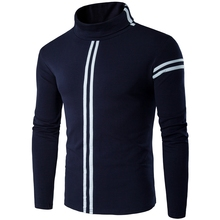 Fashion Stand Collar Men T-Shirt Plus Size Xxxxxl Slim Striped Pullover Long Sleeve Warm Basic Coats Male Clohting T Shirt z5