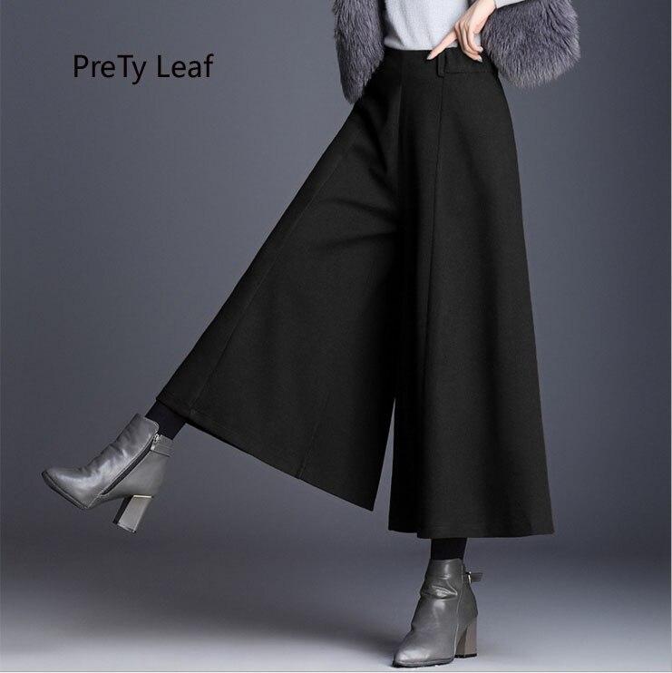 2018 new winter women's   pants   wool   wide     leg     pants