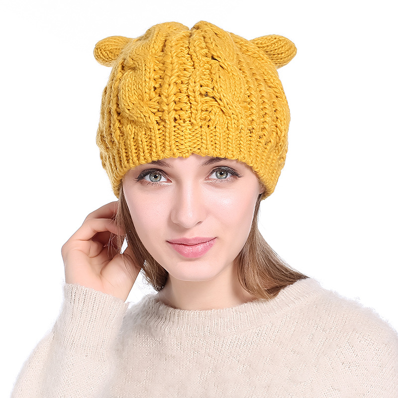 NEW Cute Women Cat Ear Beanie Hat 9 Colors Woolen Crochet Knitted Skullies Cap Autumn Winter Girls Warm Twist Berets Hats Gorro