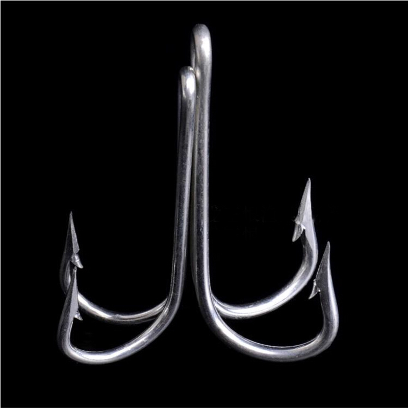 10pcs 21 High Quanlity Stainless Steel font b Fishing b font Double Hook Fish Hook Non