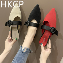HKCP Fashion 2019 new summer pointy slippers women's Korean version go with low-heeled buckle half-toe slippers C103 apricot contrast point toe pu heeled slippers