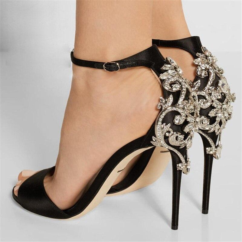 plus size 34-47 Rhinestone Summer Sexy Women Sandals Roman Style Silk Diamond Genuine Leather High Heels Stiletto Party Pumps