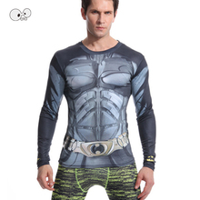 New Fitness Compression Running Shirt Men Long Sleeve Anime Superhero Batman Hulk 3D Skin Tights Bodybuilding Crossfit Top Tees