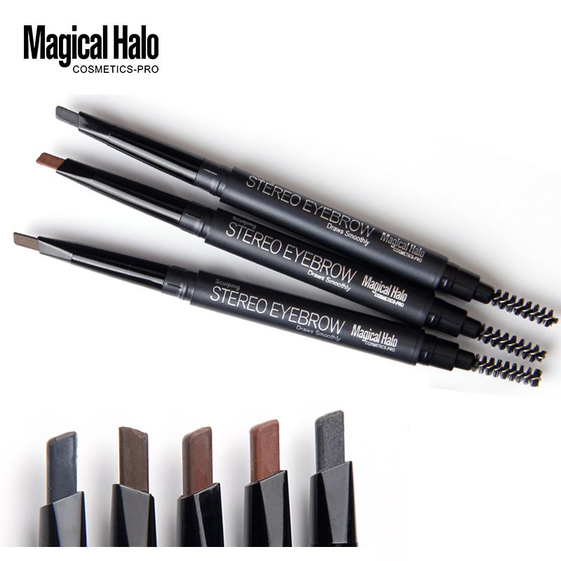 Magical Halo High Quality Automatic Eyebrow Pencil Waterproof With Brush Long-lasting Brand Makeup Cosmetics Eyebrow Pen 5 Color