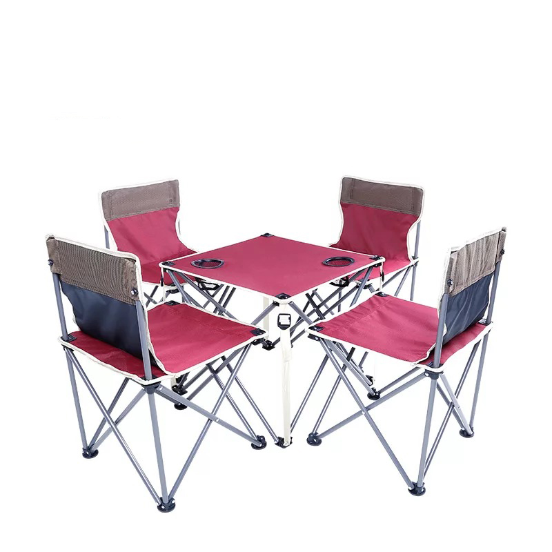 Outdoor folding Oxford cloth iron tube set combination beach self-driving portable outdoor camping picnic table and chairsOutdoor folding Oxford cloth iron tube set combination beach self-driving portable outdoor camping picnic table and chairs