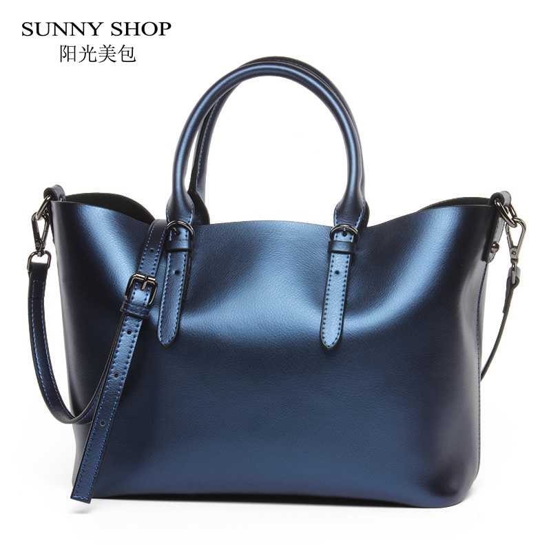 SUNNY SHOP 100 LUXURY Genuine Leather Women Shoulder Bag Brand Designer Cowhide genuine leather handbags Skin