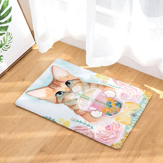 welcome floor mat home cat 2 printing flannel entrance carpetwelcome floor mat home cat 2 printing flannel entrance carpet 40x60cm 50x80cm kitchen rug bathroom non slip tapete