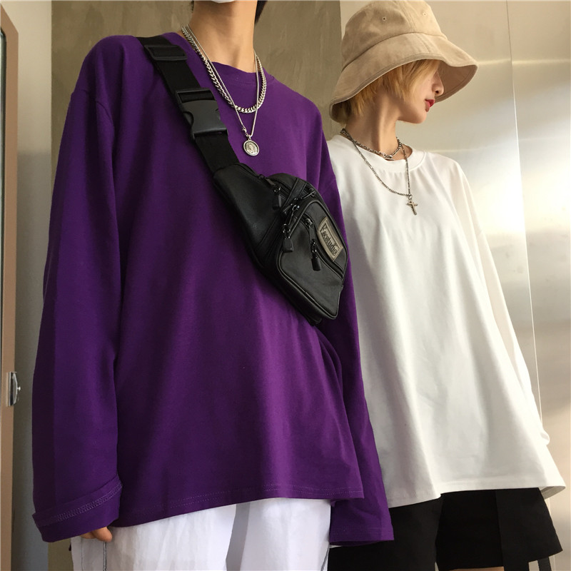 Korean Preppy BF Loose Long Sleeve T-Shirt Autumn Fashion Casual Tee Top Solid Letter Pullover High Street Vintage Jumper Big T