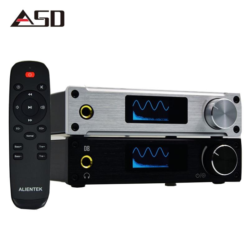 ASD Alientek D8 Full Pure Digital Audio Input USB/XMOS/Coaxial/Optics/AUX 80W*2 24Bit/192KHz DC28V Class d Power fx audio d302 hifi pure digital amplifier 30w 2 192khz 24bit coaxial fiber optics usb input ta2024 ta2021 dc15v 4a power supply