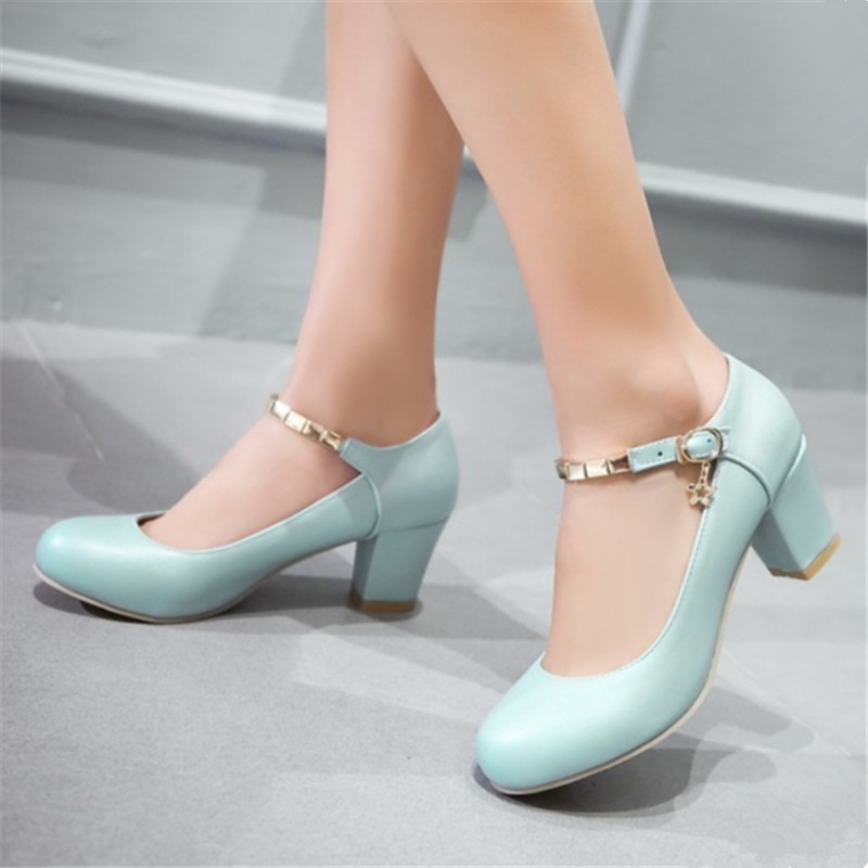 Plus size 34-48 Fashion Summer Candy Color Women Pumps Thick High Heels Shoes Buckle Strap Working Shoes Woman Casual Shoes egonery buckle strap faux leather thick high heels fashion style ladies party shoes women s shoe plus size woman pumps