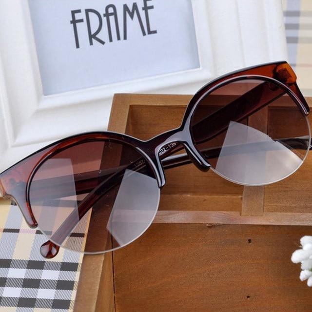 2016 Fashion Vintage Sunglasses Retro Cat Eye Semi-Rim Round Sunglasses for Men Women Sun Glasses Eyewear Eyeglasses