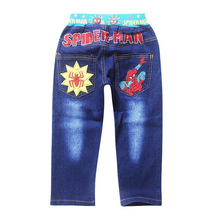 1pc Retail 2017 Spring Autumn Children's pants  boys Spiderman embroidered Jeans trousers,Children's jeans,kids Leisure trousers
