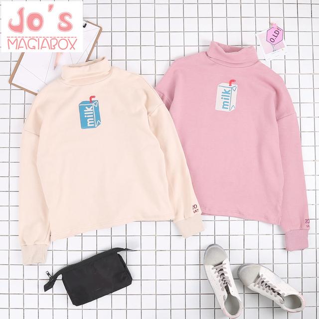 Kawaii Candy Color Uzlang Turtle Neck Milk Sweatshirt Harajuku Embroidery Ladies Hoodie Japan Style Pink Pure Color