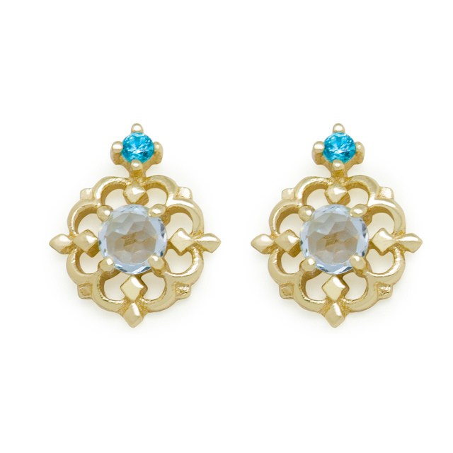 Natural Sky Blue Topaz Flower 925 Sterling Silver Golden Stud Earrings