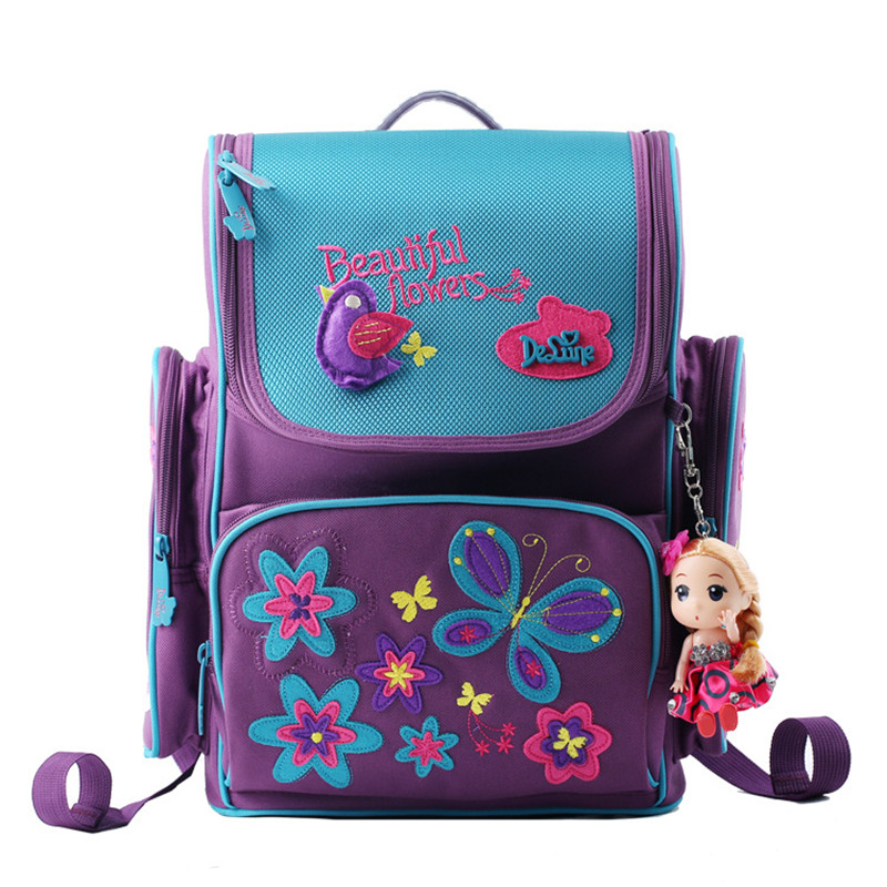 ФОТО Russia Style Cute Masha and Bear Butterfly Pattern School Bags for Girls Waterproof Orthopedic Backpack Mochila Infantil Kid Bag