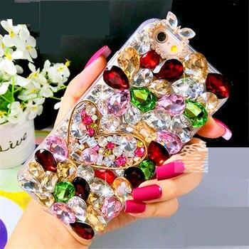 Luxury Fancy Heart diamond crystal stone lens phone case For Huawei P10 P20 Lite Plus 2017 Mate 9 10 Pro