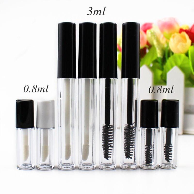 6pcs/lot 3ml/0.8ml Plastic Lip Gloss Tube Small Lipstick Tube/Mascara Tube Eyelawith Leakproof Inner Sample Cosmetic Container