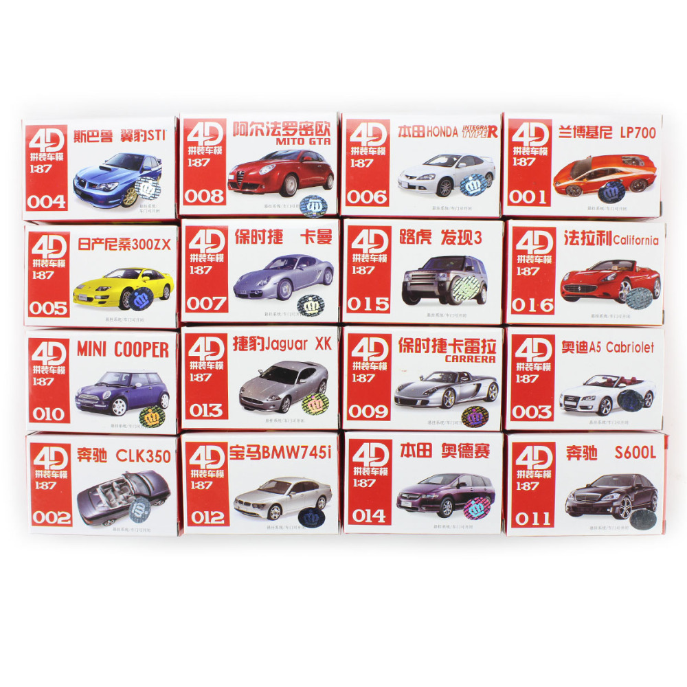 16pcs 4D Vehicle Car Model Kit Toy HO Scale 1/87 Display Nissan Benz Children Toys