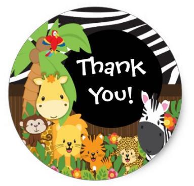 Office & School Supplies 1.5inch Thank You Jungle Safari Baby Animals Sticker