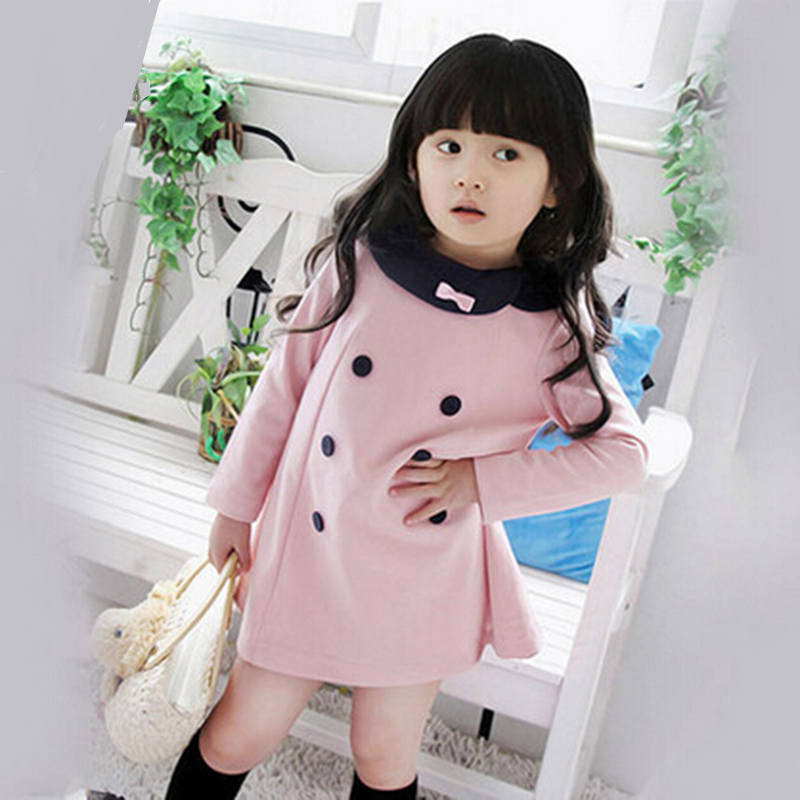 Hot Sale New Autumn Kids & girls Dresses Kids Double-breasted Bow Long Sleeve Lace Princess Casual Dress For Party