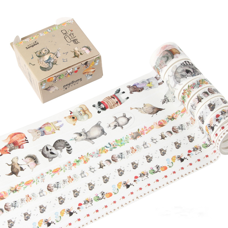8 Pcs/pack Winter Sonata Bullet Journal Washi Tape Set Adhesive Tape DIY Scrapbooking Sticker Label Masking Tape