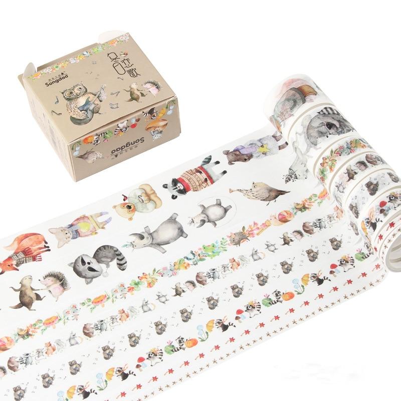 8 Pcs/pack Winter Sonata Bullet Journal Washi Tape Set Adhesive Tape DIY Scrapbooking Sticker Label Masking Tape