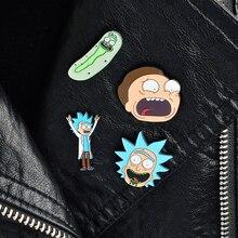 4 шт./компл. и броши Рик и Морти эмаль нагрудные знаки значки Pin комплект броши значки на рюкзак сумка Шапки аксессуары