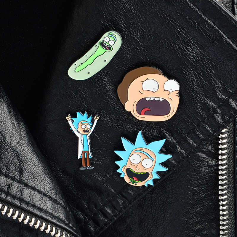 4 PCS/SET Rick dan Morty Pins dan bros pin Enamel Kerah pin Pin set Bros Lencana Ransel Tas Topi Accessorie