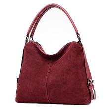 Retro real Split Suede Leather Shoulder Bag For Women 2019 new Female Casual Handbag Messenger Top-handle bags high Quality недорого