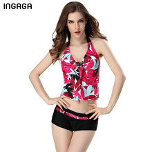 INGAGA 2017 Brand Swimwear Women Two Piece Swimsuit Sexy Tankini Set Random Printed Halter Padded Beach Bathing Suits