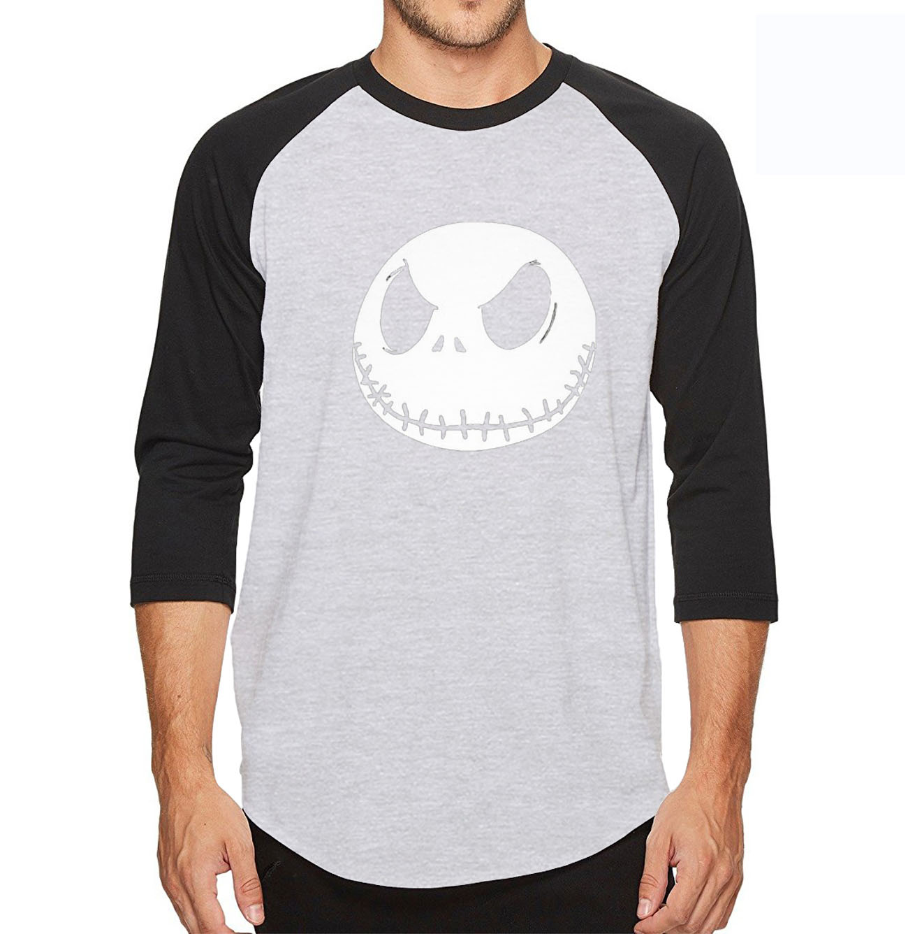 2018 summer men t shirt Nightmare Before Christmas Jack Skellington 3/4 sleeve tshirt cotton high quality raglan tee shirt men