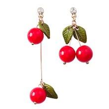 цена на 2018 Lovely Sweet Cherry Leaf Asymmetry Drop Earrings Temperament Fashion Fruit Pendientes Jewelry For Women Mujer Moda
