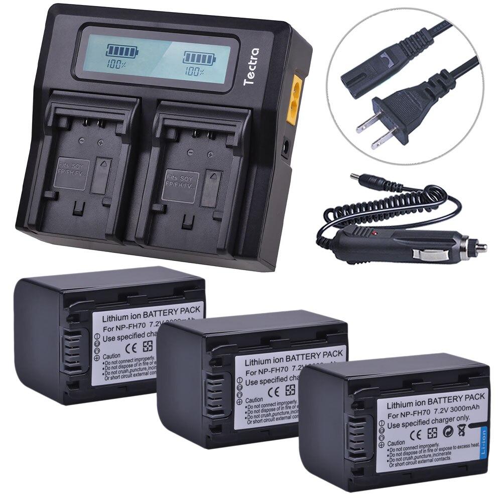 3 pièces 3000 mAh NP-FH70 NP FH70 NPFH70 batterie de caméra + LCD chargeur rapide pour Sony NP-FH30 cyber-shot DSC-HX1 série Alpha DSLR-A230