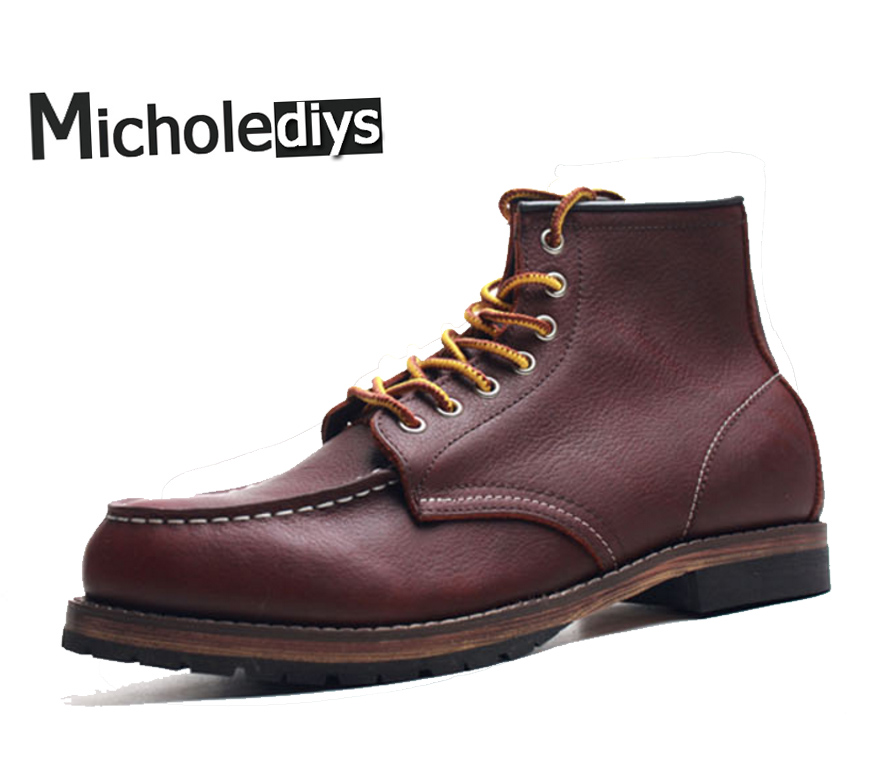 Micholediys Handmade Genuine leather Work Boots Leather Martin Mens Botas Ankle Red Boots Breathable Men Shoes free shipping autumn winter genuine leather men s work ankle boots martin boots british style western cowboy boots for men botas
