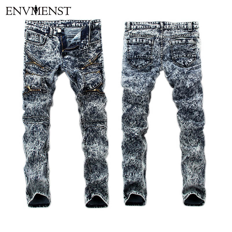 2017 High Quality Elastic Men Slim Moto Pencil Jeans Pant Denim Trousers Jeans Snow Wash Rock Fit Casual Male Jeans Pants jeans men s blue slim fit fashion denim pencil pant high quality hole brand youth pop male cotton casual trousers pant gent life